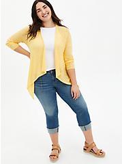 Yellow Drape Open Cardigan Sweater, SUNDRESS, alternate