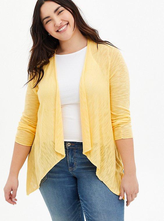 Yellow Drape Open Cardigan Sweater, SUNDRESS, hi-res