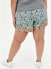 Self-Tie Paperbag Mid Short - Challis Floral Jade Green, MULTI FORAL, alternate