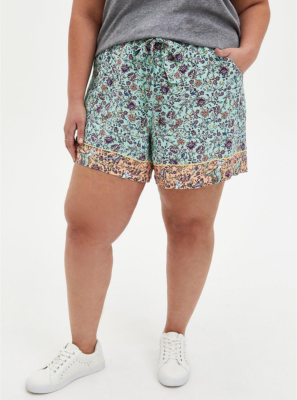Self-Tie Paperbag Mid Short - Challis Floral Jade Green, MULTI FORAL, hi-res