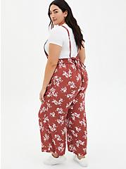 Marsala Red Floral Crepe Wide Leg Jumper , MULTI FORAL, alternate