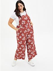 Marsala Red Floral Crepe Wide Leg Jumper , MULTI FORAL, hi-res
