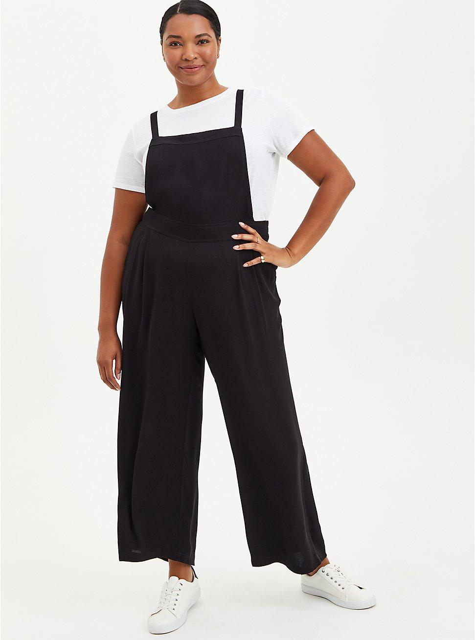 Black Crepe Wide Leg Jumpsuit, DEEP BLACK, hi-res