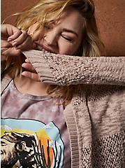 Taupe Relaxed Cardigan Sweater, MUSHROOM, alternate