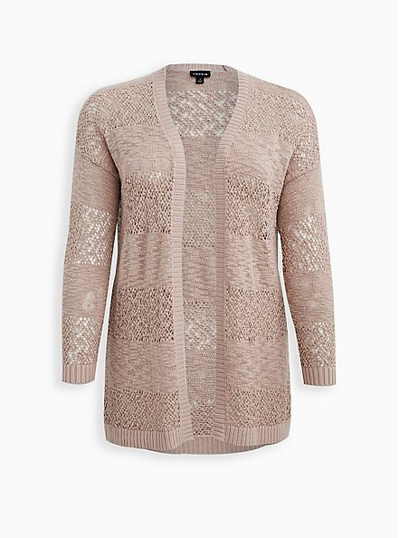 Taupe Relaxed Cardigan Sweater, MUSHROOM, hi-res
