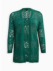 Plus Size Green Relaxed Cardigan Sweater, FOLIAGE GREEN, hi-res