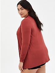 Super Soft Marsala Red Open Cardigan, MARSALA, alternate