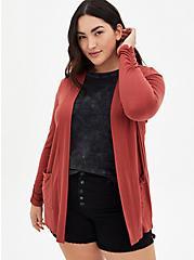 Super Soft Marsala Red Open Cardigan, MARSALA, hi-res