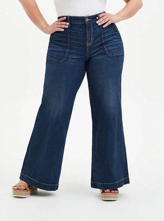 Plus Size High Rise Wide Leg Jean - Vintage Stretch Medium Wash, , hi-res