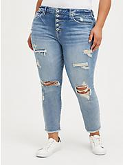 High Rise Straight Jean - Eco Light Wash With Frayed Hem, LAUREL CANYON, hi-res
