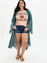 Mid Rise Shortie Short - Vintage Stretch Dark Wash, PEACE OUT, alternate