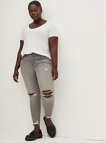 Bombshell Skinny Jean - Super Soft Grey with Destructured Hem, SMOKE AND MIRRORS, alternate