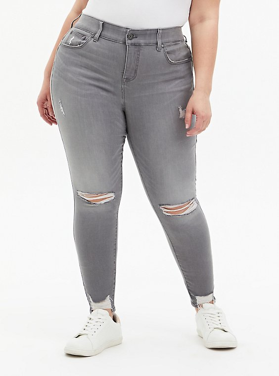 Bombshell Skinny Jean - Super Soft Grey with Destructured Hem, SMOKE AND MIRRORS, hi-res