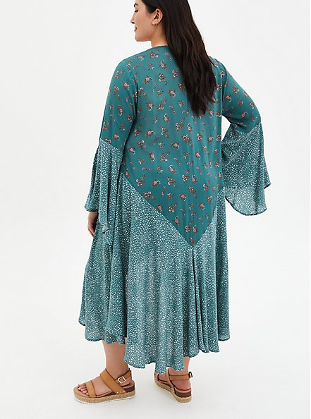 Teal Mix Print Gauze Challis Kimono, MEDALLION-BLUE, alternate