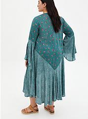 Teal Mix Print Gauze Challis Kimono, MEDALLION-BLUE, alternate