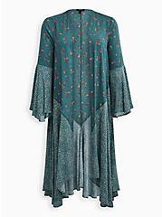Teal Mix Print Gauze Challis Kimono, MEDALLION-BLUE, hi-res