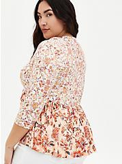Peach Floral Mix Print Babydoll Kimono, FLORAL - PEACH, alternate