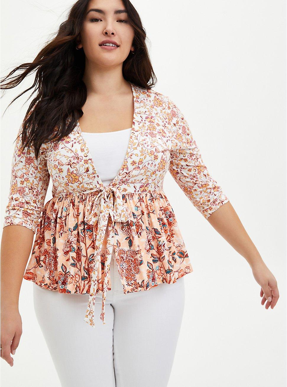 Peach Floral Mix Print Babydoll Kimono, FLORAL - PEACH, hi-res