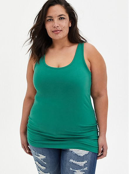 Green Double Scoop Foxy Tank, GREEN, alternate