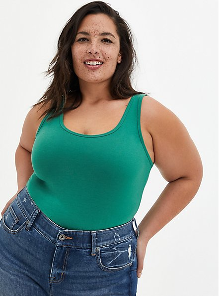 Green Double Scoop Foxy Tank, GREEN, hi-res