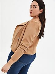 Brown Stretch Faux Suede Moto Jacket, BROWN  LIGHT BROWN, alternate