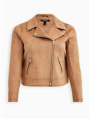Brown Stretch Faux Suede Moto Jacket, BROWN  LIGHT BROWN, hi-res