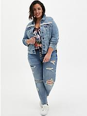 Embellished Denim Jacket - Light Wash, DENIM, alternate