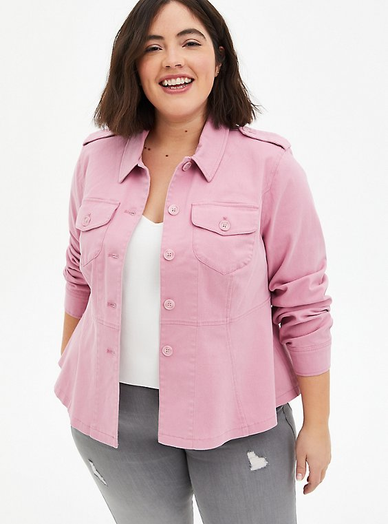 Pink Peplum Twill Jacket, POLIGNAC, hi-res