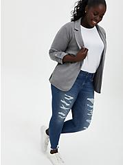 Heather Grey Jersey Roll-Sleeve Longline Blazer, HEATHER GREY, alternate