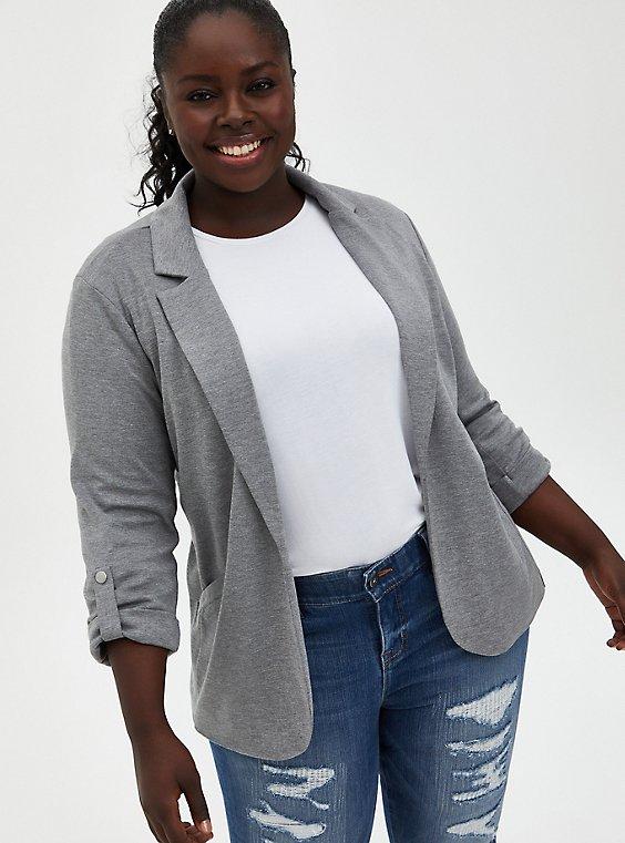 Heather Grey Jersey Roll-Sleeve Longline Blazer, , hi-res