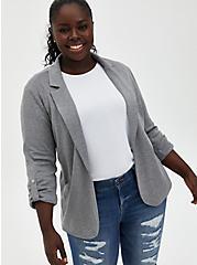 Heather Grey Jersey Roll-Sleeve Longline Blazer, HEATHER GREY, hi-res