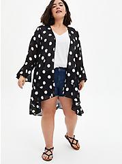 Black & White Dot Chiffon Kimono, DOT -BLACK, alternate