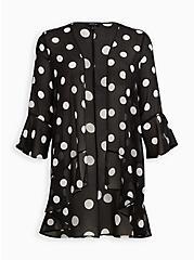 Black & White Dot Chiffon Kimono, DOT -BLACK, hi-res