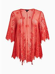 Coral Lace Kimono, DEEP SEA CORAL, hi-res