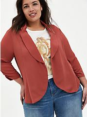Marsala Red Drape Crepe Blazer, MARSALA, hi-res