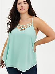 Sophie - Jade Green Georgette Strappy Cami, GREEN, hi-res