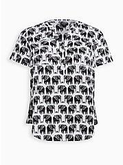 Harper - White Elephant Challis Pullover Blouse, ELEPHANTS - WHITE, hi-res