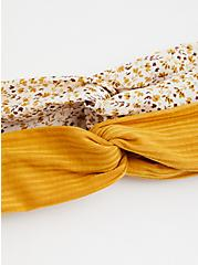 Mustard & White Floral Soft Headband Pack - Pack of 2, , alternate