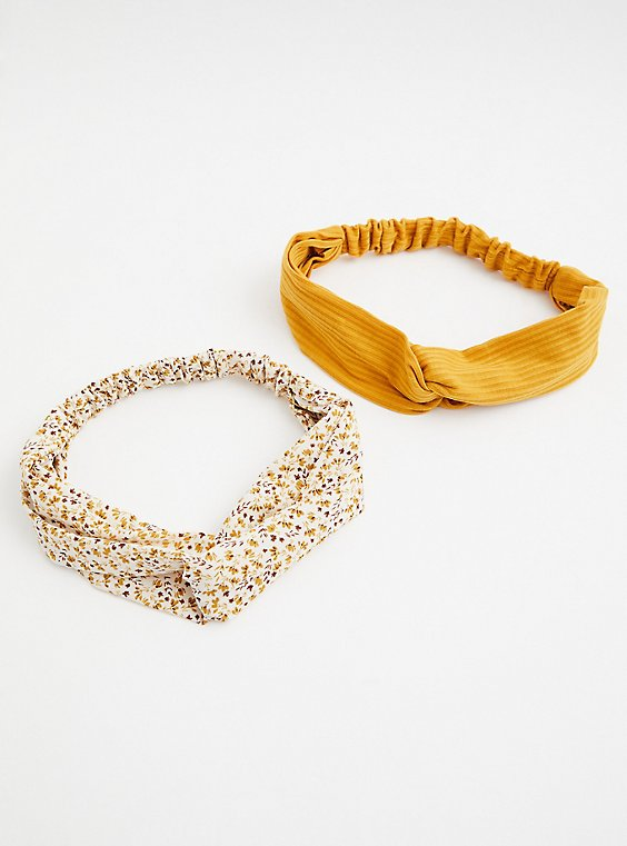 Mustard & White Floral Soft Headband Pack - Pack of 2, , hi-res