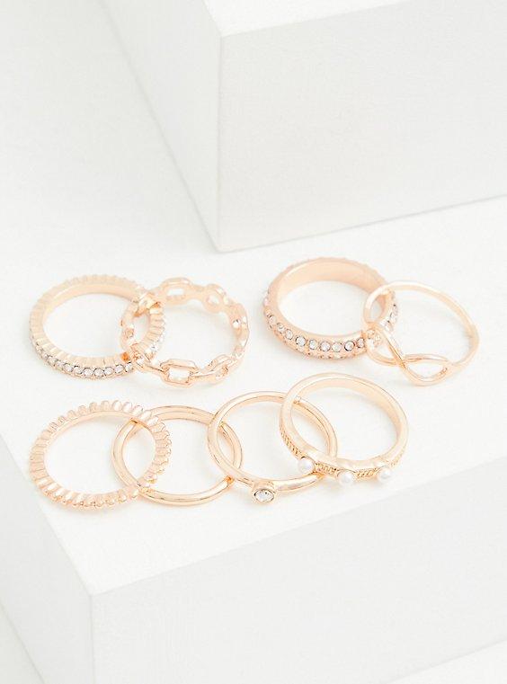 Plus Size Rose Gold-Tone Link Ring Set - Set of 8 , ROSE GOLD, hi-res