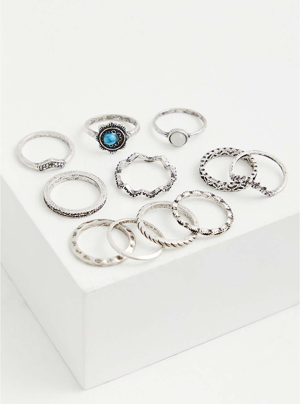 Silver-Tone & Faux Turquoise Stone Ring Set - Set of 11, SILVER, hi-res