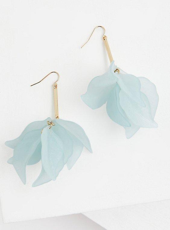 Light Blue Petal Drop Statement Earrings, , hi-res