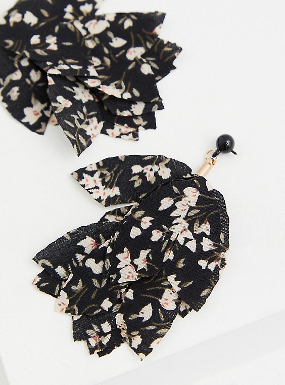 Black Floral Drop Statement Earrings, , hi-res