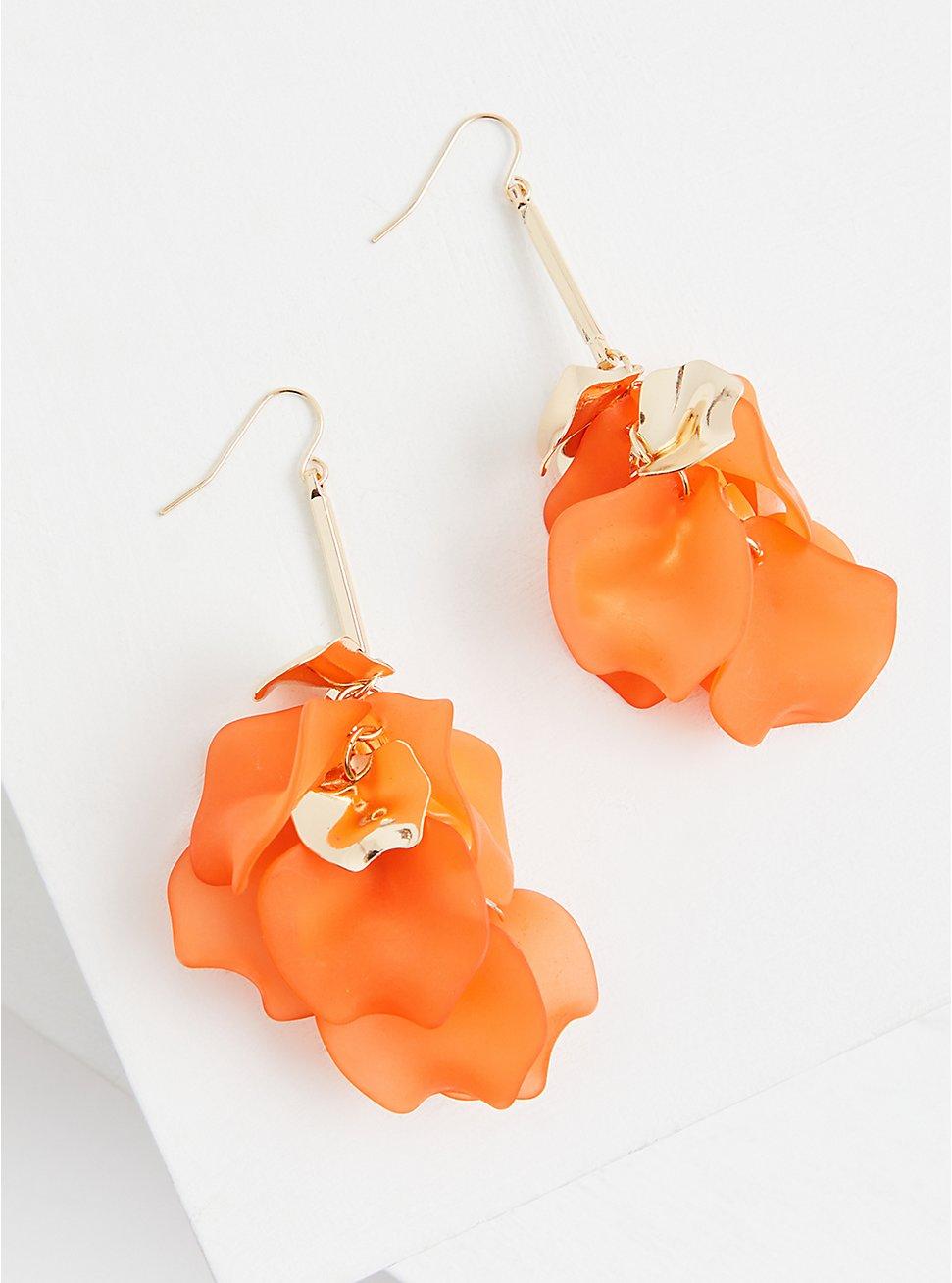 Orange Petal Drop Statement Earrings, , hi-res