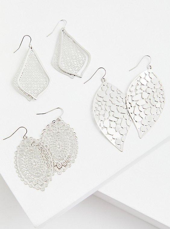 Silver-Tone Filigree Earrings Set - Set of 3, , hi-res