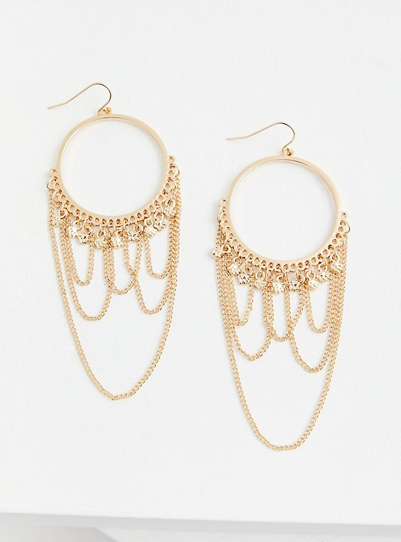Gold-Tone Chain Hoop Statement Earrings, , hi-res