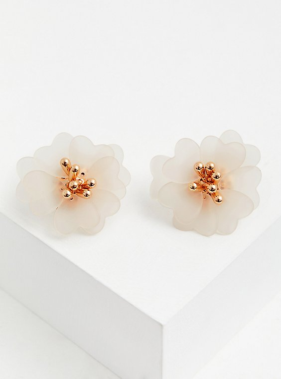 White Resin Floral Statement Earrings, , hi-res