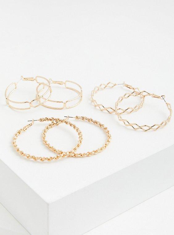 Gold-Tone Link Hoop Earrings Set - Set of 3, , hi-res