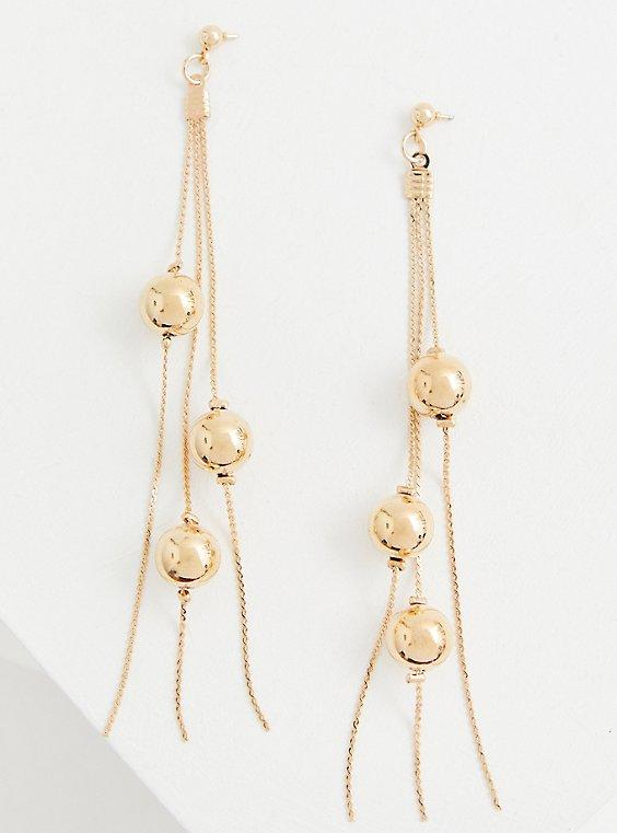 Gold-Tone Ball & Chain Fringe Drop Earrings, , hi-res