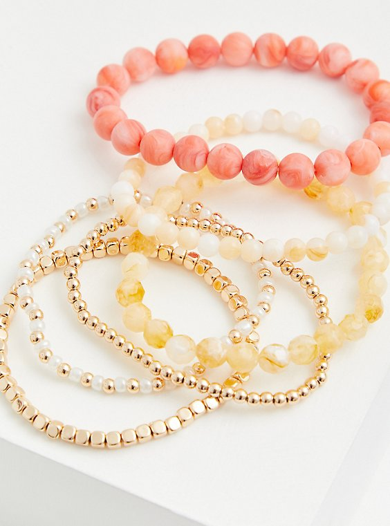 Coral & Gold-Tone Stretch Bracelets Set - Set of 6, MULTI, hi-res